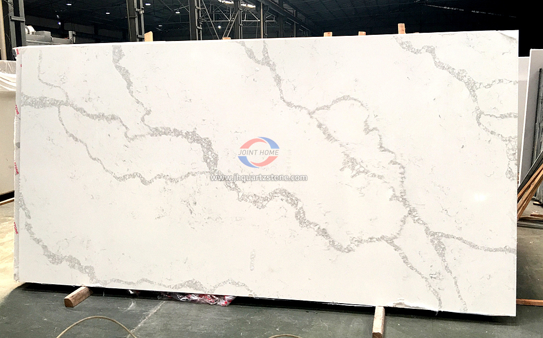 JH-CA101 Calacatta White Quartz Slab Surface 4