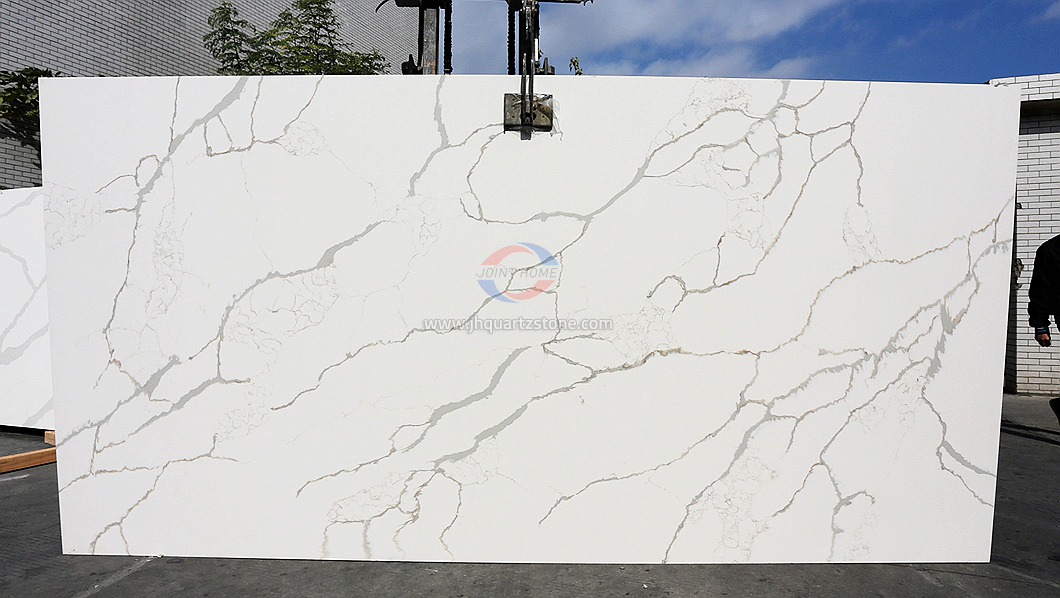 JH-CA116 Calacatta Venatto Calacatta White Quartz Slab Surface 4