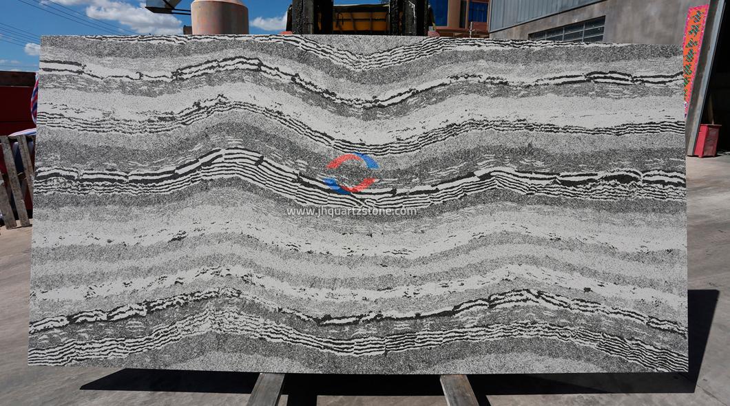 JH-CA203 Calacatta Grey Quartz Slab Surface 4