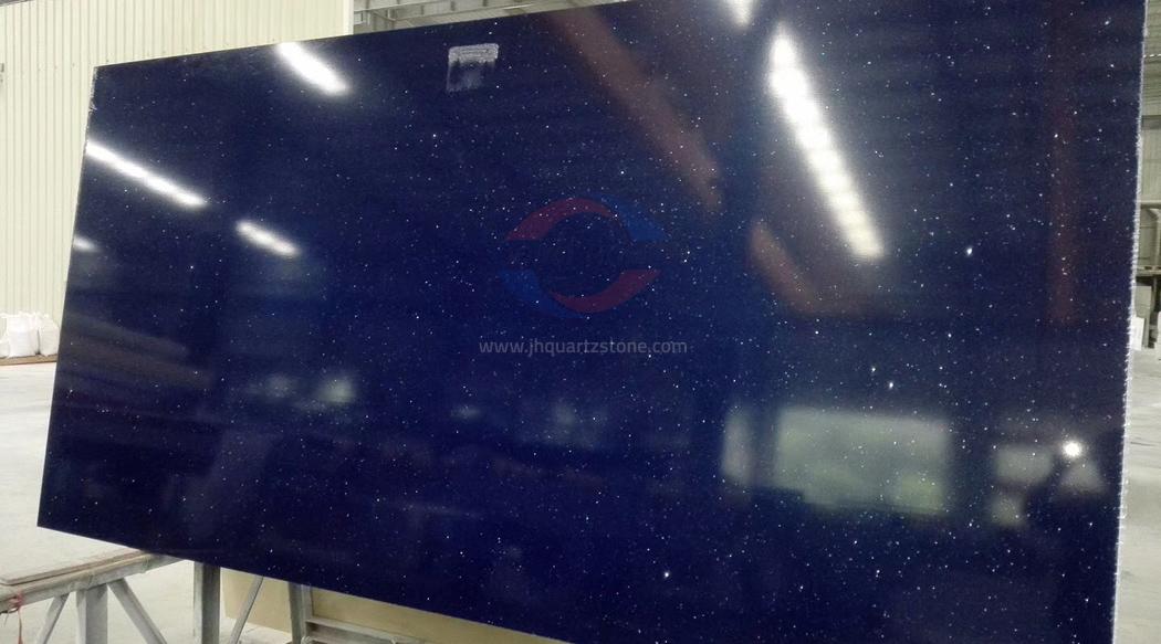 JH-CR016 Crystal Blue Starlight Quartz Slab Surface 4