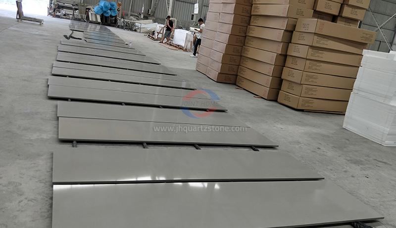 JH-FG010 Fine Grey Quartz Slab Surface 4