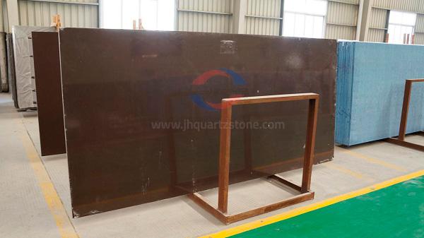 JH-PC007 South Africa Dark Brown Quartz Slab Surface 4