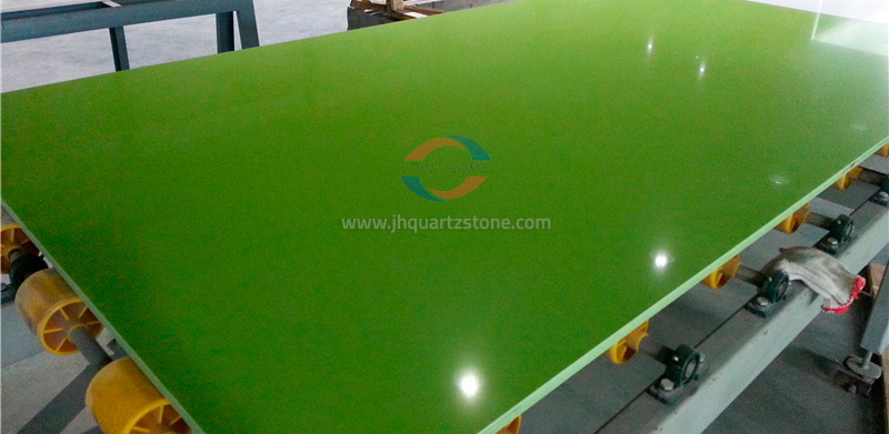 JH-PC010 Pure Green Quartz Slab Surface 4