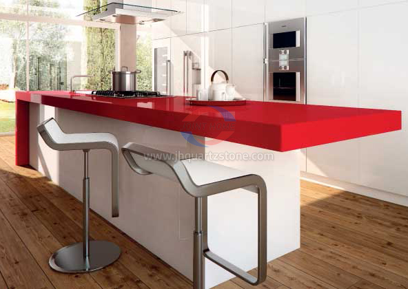 JH-PC015 Pure Red Quartz Slab Surface 2