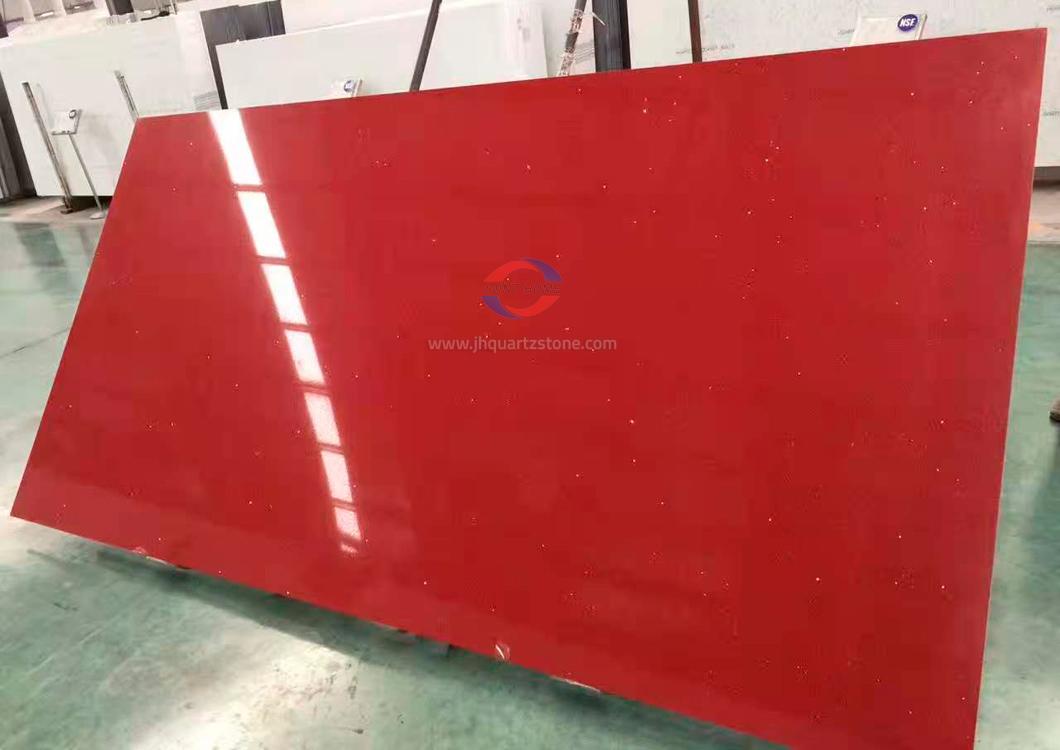 JH-PC015 Pure Red Quartz Slab Surface 4