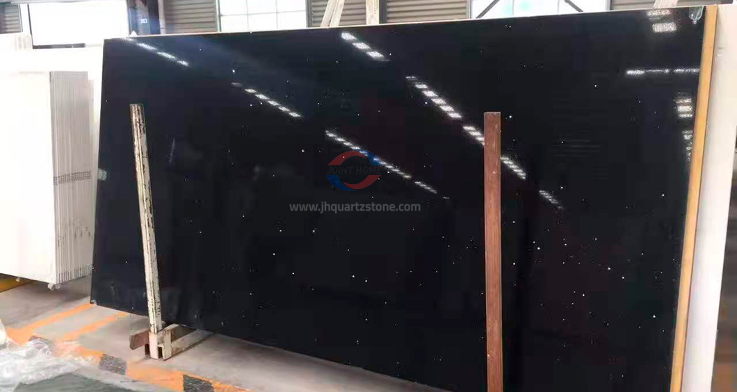JH-PC020 Dark Black Quartz Slab Surface 4