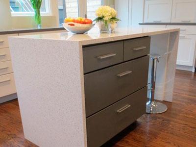 Modern Island White Quartz Kitchen Countertops
