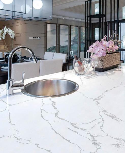 Calacatta Gold Quartz Kitchen Countertops 2