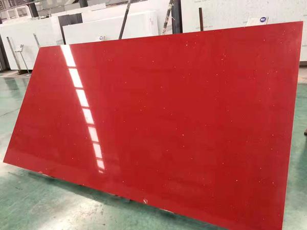 China Pure Red Color Quartz Stone Slab Factory Supplier