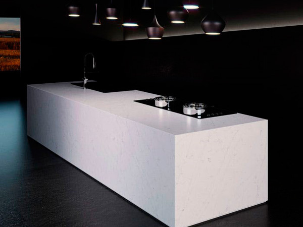China White Quartz Countertops Kitchen Producer