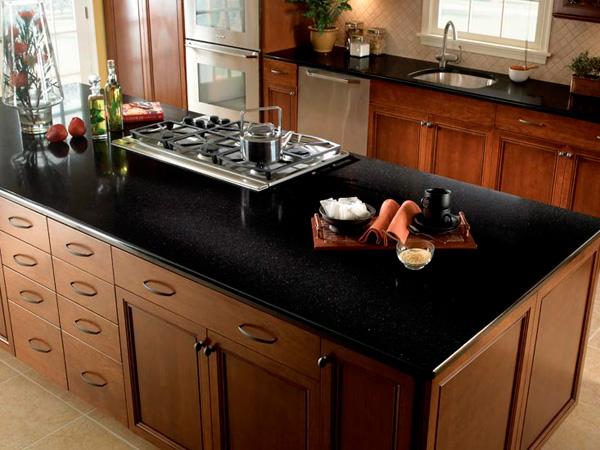 Sparkling Caesarstone Matte Black Quartz Countertops