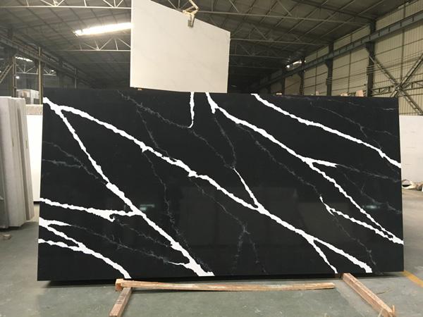 China Calacatta Black Quartz Slabs 1