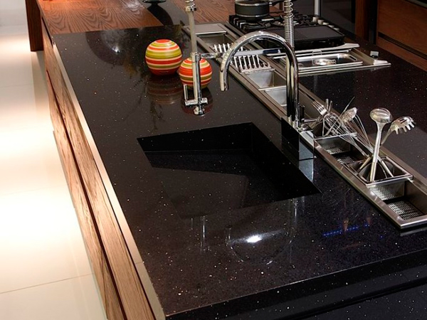 China Dark Black Color Quartz Countertops For Kitchens Suppliers And Manufacturers