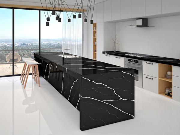 Best Price Dark Black Color Quartz Countertops For Kitchens Cost