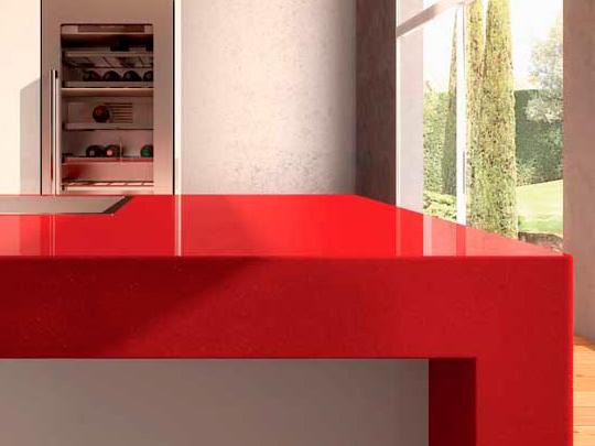 Best Price Pure Red Color Quartz Countertops Cost