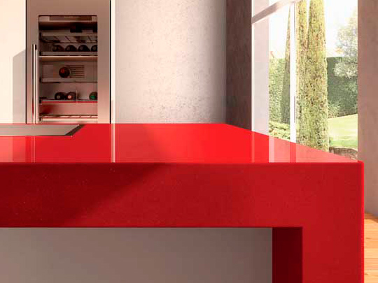 Pure Red Quartz Countertops With High Quality And Best Cheap Price