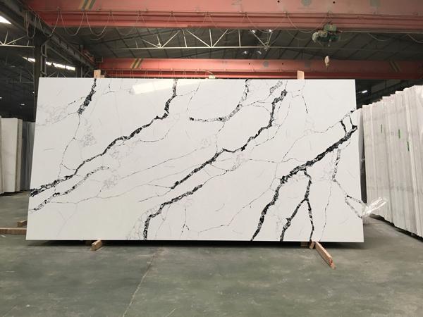 Calacatta White Black Quartz Stone Quartz Slabs with 2cm 3cm Thickness Jumbo Size