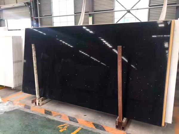 Pure Black Quartz Stone With 2cm 3cm Jumbo Size Quartz Slabs