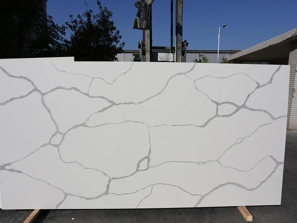 Calacatta White Lincoln Quartz Slabs Cutting Edges