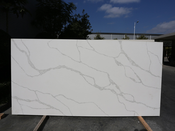Calacatta White Trento Quartz Slabs for Kitchen Countertops