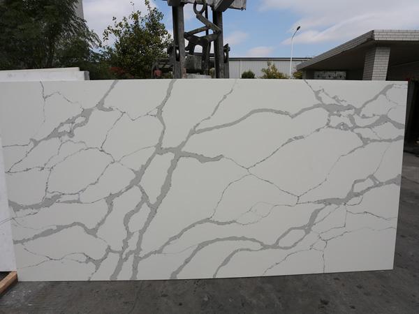 Calacatta White Storm Quartz Stone Slabs For Countertops