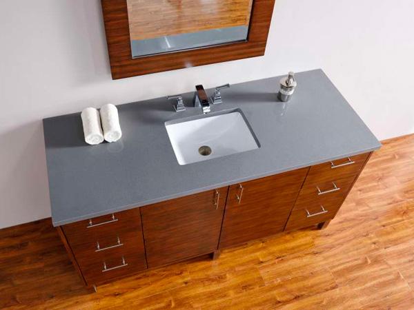 Steel Pietra Tundra Silver Grey Quartz Vanity Tops 1