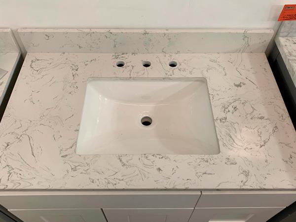Wall Mount 24 Inch Eleanor Quartz Stone Bathroom Vanity Tops