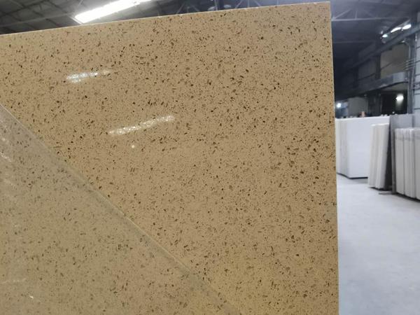 China Starfish Beige Color Quartz Stone Slabs Supplier
