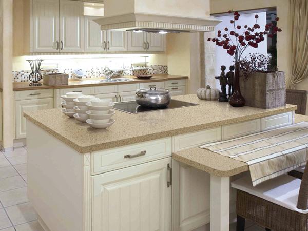 China Starfish Beige Quartz Kitchen Countertops Manufacturer