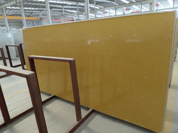 China Yellow Starlight Jumbo Size Quartz Stone Slabs 2